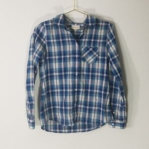Broadway and Broome blue plaid button up xs